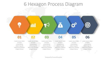6 Hexagon Process Diagram Presentation Template, Master Slide