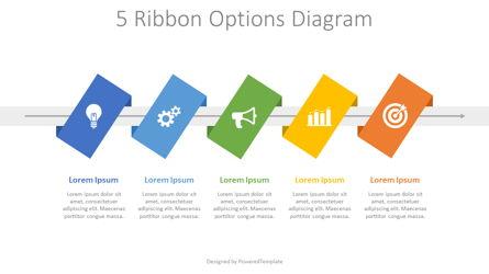 5 Ribbon Options Process Diagram Presentation Template, Master Slide