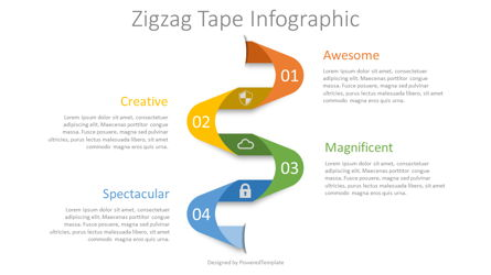 Zigzag Tape Infographic Presentation Template, Master Slide