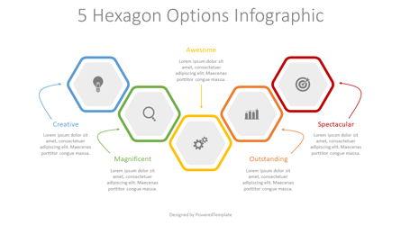 5 Colored Hexagon Options Presentation Template, Master Slide