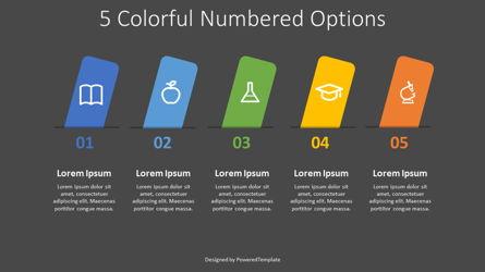 5 Colorful Numbered Options Presentation Template, Master Slide
