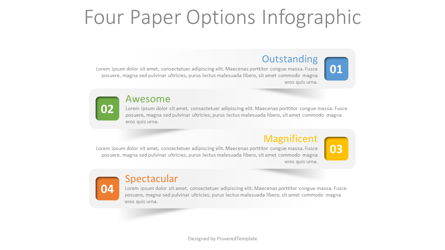 4 Paper Options Infographic Presentation Template, Master Slide