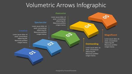 5 Volumetric Chevron Diagram Presentation Template, Master Slide