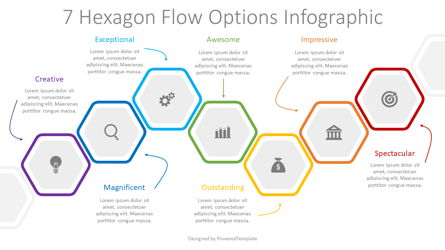 7 Hexagon Flow Options Infographic Presentation Template, Master Slide