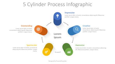 5 Cylinder Process Infographic Presentation Template, Master Slide