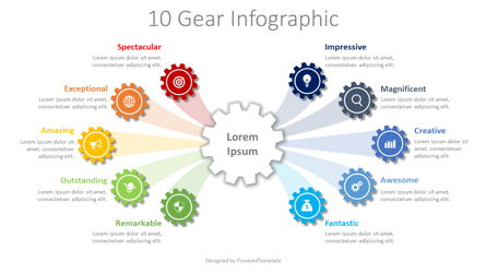 10 Step Gear Infographic Presentation Template, Master Slide