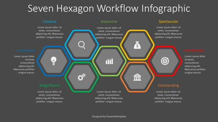 7 Hexagon Workflow Infograpic Presentation Template, Master Slide