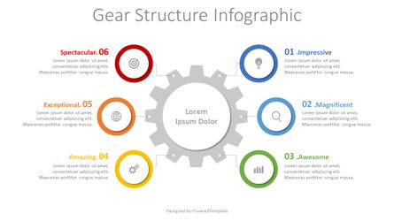 Gear Structure Infographic Presentation Template, Master Slide