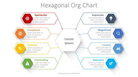 Hexagonal Organizational Chart Presentation Template, Master Slide