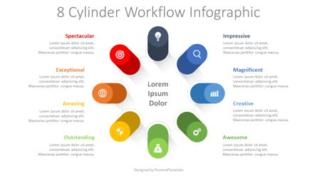 8 Cylinder Workflow Infographic Presentation Template, Master Slide