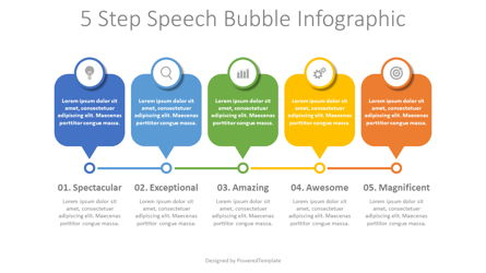 5 Step Speech Bubble Timeline Presentation Template, Master Slide