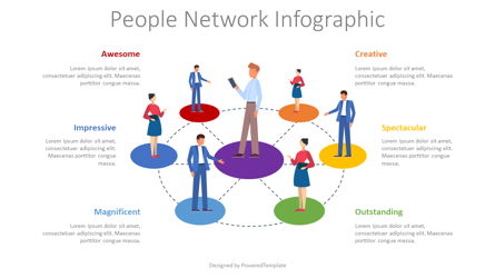 People Network Infographic Presentation Template, Master Slide