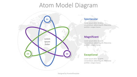 Atom Model Schematic Diagram Presentation Template, Master Slide