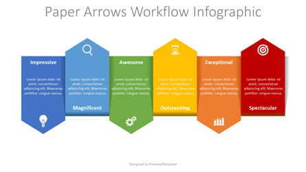 Up and Down Alternate Arrows Workflow Presentation Template, Master Slide