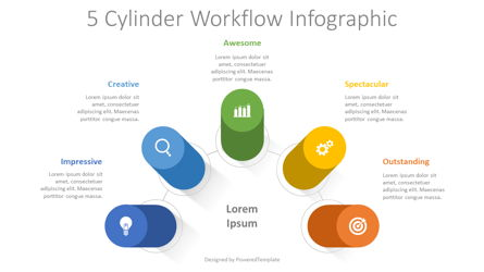 5 Cylinder Workflow Infographic Presentation Template, Master Slide