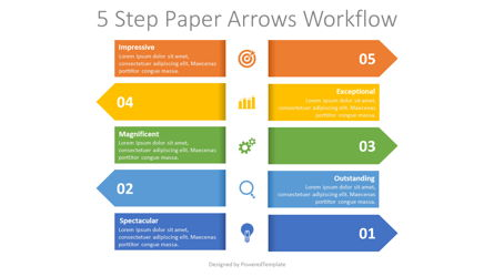 Left and Right Alternate Arrows Workflow Presentation Template, Master Slide