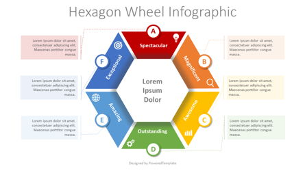 Hexagon Wheel Cycle Diagram Presentation Template, Master Slide