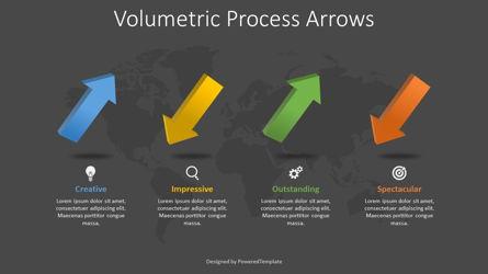 4 Volumetric Alternate Process Arrows Presentation Template, Master Slide