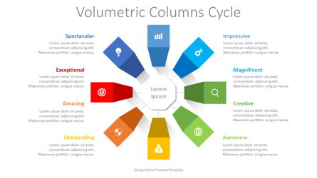 Volumetric Columns Cycle Diagram Presentation Template, Master Slide