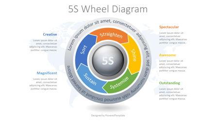 5S Methodology Wheel Diagram Presentation Template, Master Slide