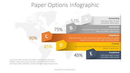 5 Paper Arrow Options Infographic Presentation Template, Master Slide