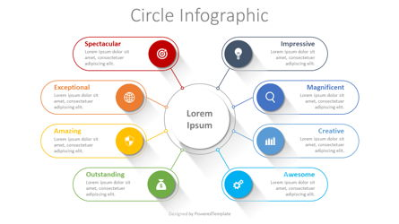 Connected Circles Infographic Presentation Template, Master Slide