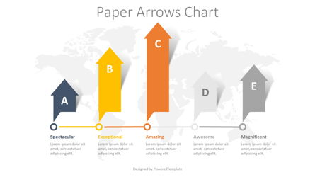 5 Paper Arrows Chart Presentation Template, Master Slide