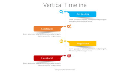 Vertical Timeline with Paper Stickers Presentation Template, Master Slide