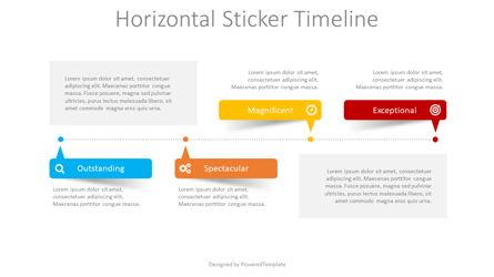 Horizontal Sticker Timeline Presentation Template, Master Slide