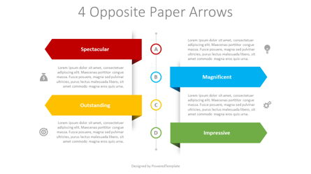 4 Opposite Paper Arrows Presentation Template, Master Slide