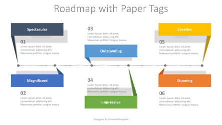 Roadmap with Paper Tags Presentation Template, Master Slide