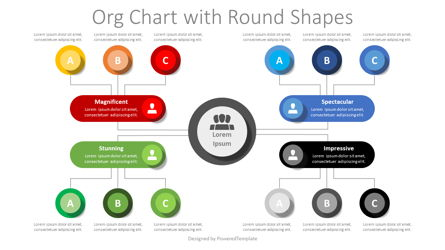 Org Chart with Round Shapes Presentation Template, Master Slide
