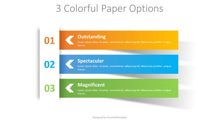 3 Colorful Paper Options Presentation Template, Master Slide