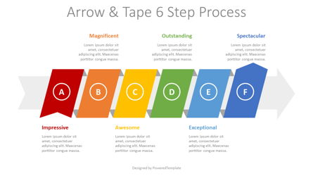 Process Arrow with 6 Options Presentation Template, Master Slide