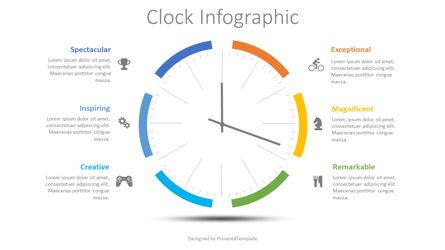 Clock Face Infographic Presentation Template, Master Slide
