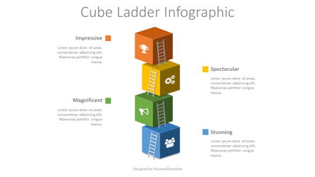 Cube Ladder Infographic Presentation Template, Master Slide