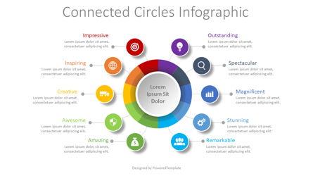 10 Connected Circles Diagram Presentation Template, Master Slide