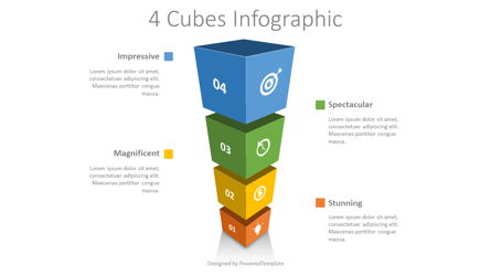 4 Stacked Cubes Infographic Presentation Template, Master Slide
