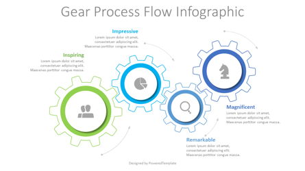 Gear Process Flow Infographic Presentation Template, Master Slide