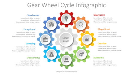 Gear Wheel Cycle Infographic Presentation Template, Master Slide