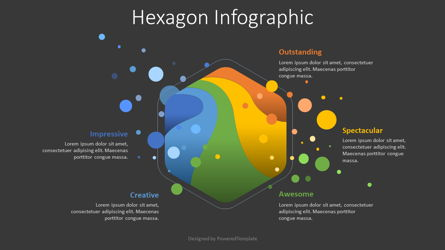 Hexagon and Colored Blobs Infographic Presentation Template, Master Slide