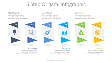 6 Step Origami Infographic Presentation Template, Master Slide