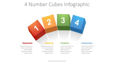 4 Numbered Cubes Infographic Presentation Template, Master Slide