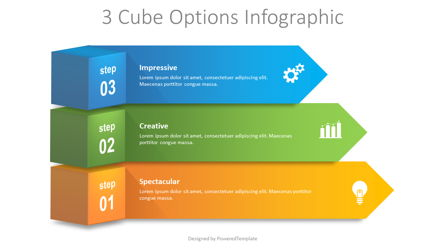 3 Cube Options Infographic Presentation Template, Master Slide