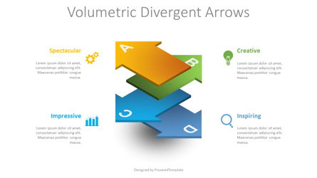 Volumetric Divergent Arrows Presentation Template, Master Slide