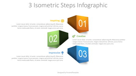 3 Isometric Steps Infographic Presentation Template, Master Slide