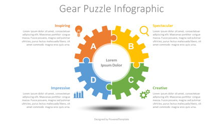 Gear Puzzle Infographic Presentation Template, Master Slide