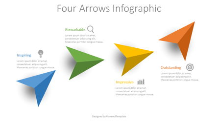 4 Colored Arrows Infographic Presentation Template, Master Slide