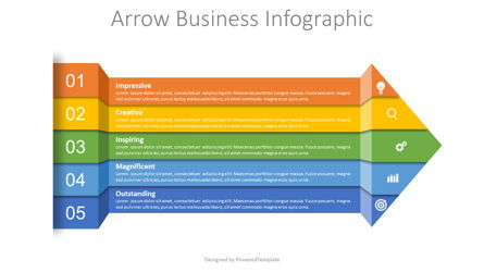 Arrow from Color Strips Infographic Presentation Template, Master Slide