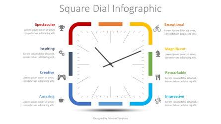Square Dial Infographic Presentation Template, Master Slide